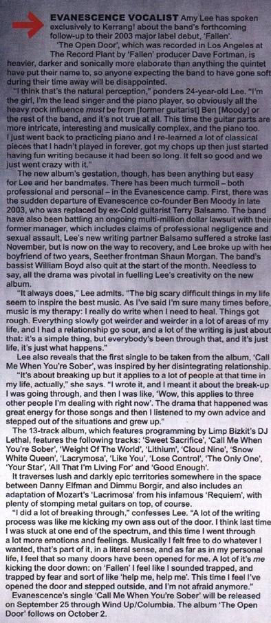 Amy Lee en Kerrang (articulo)