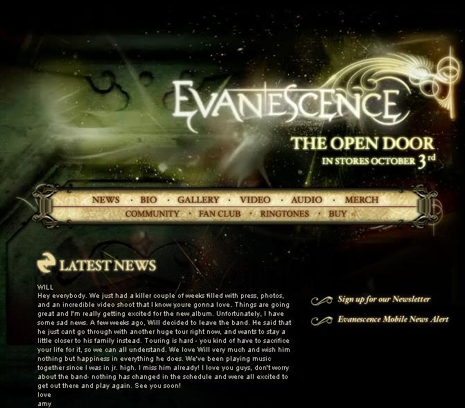 New Evanescence.com