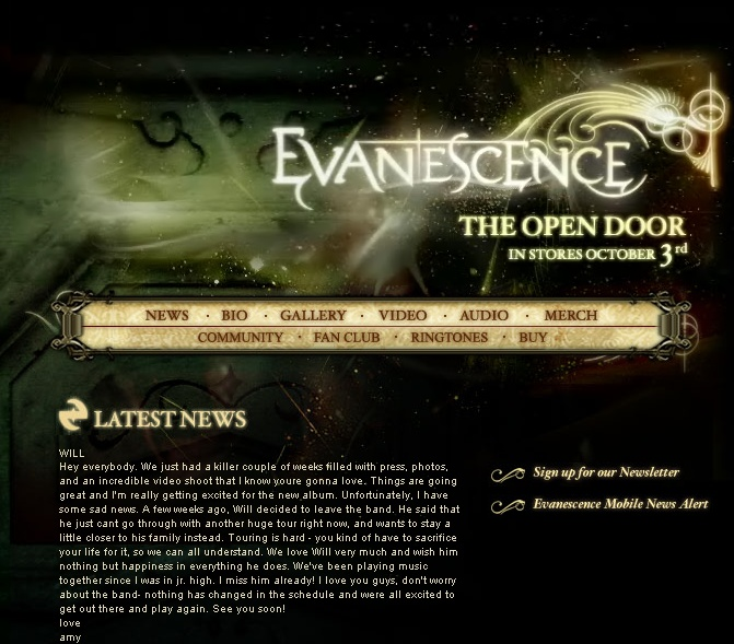 New Evanescence.com