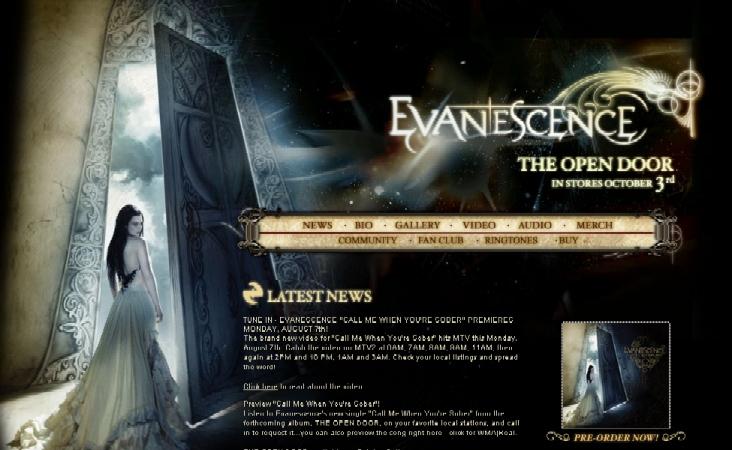 Nuevo diseño de Evanescence.com