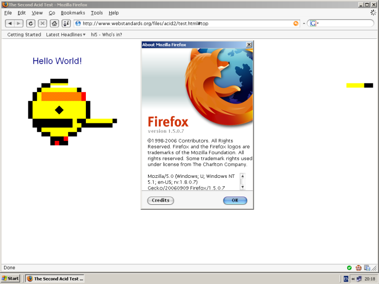 Firefox 1.5: Acid 2 Test