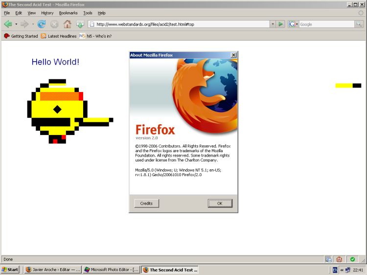 Firefox 2.0: Acid 2 Test