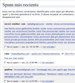 Comentarios Spam